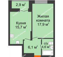 1 комнатная квартира 45,75 м² в ЖК Заречье, дом № 1 - планировка