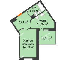 1 комнатная квартира 40,53 м², ЖД Жизнь - планировка
