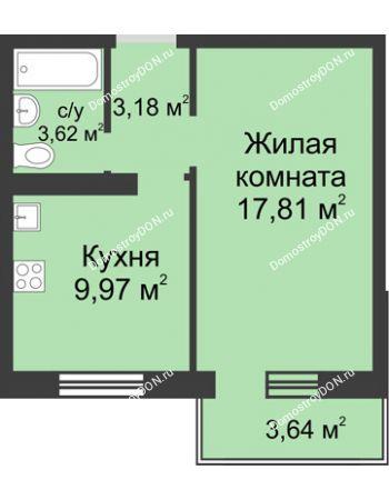 1 комнатная квартира 35,67 м² в ЖК Суворовский, дом Литер 24, Участок 120
