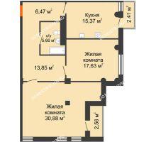 2 комнатная квартира 91,96 м² в ЖК Ренессанс, дом № 1 - планировка
