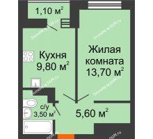 1 комнатная квартира 33,7 м² в ЖК SkyPark (Скайпарк), дом Литер 1, корпус 1, блок-секция 1 - планировка