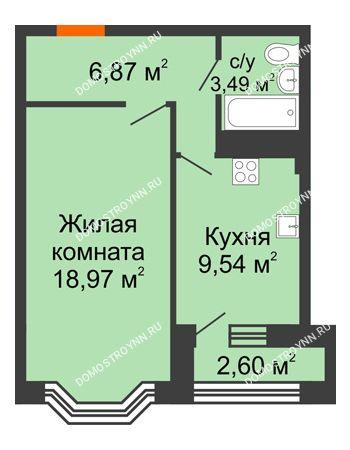 1 комнатная квартира 40,16 м² - ЖК Каскад на Куйбышева