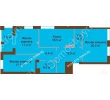 3 комнатная квартира 113,2 м², Жилой дом: ул. Почаинская д. 33 - планировка