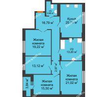 3 комнатная квартира 128,49 м² в ЖК Кристалл, дом Литер 2 - планировка