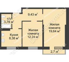 2 комнатная квартира 54,28 м² в ЖК Тридесятое, дом № 23 - планировка