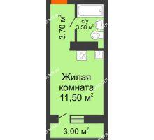 Студия 18,7 м² в ЖК Торпедо, дом № 1 - планировка