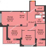 4 комнатная квартира 120,3 м² в ЖК Перья, дом № 1, 4 этап - планировка