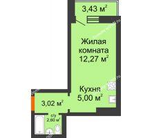 Студия 24,61 м² в ЖК Платовский, дом Литер 11 - планировка
