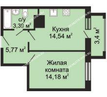 1 комнатная квартира 40,71 м² - ЖК Гелиос