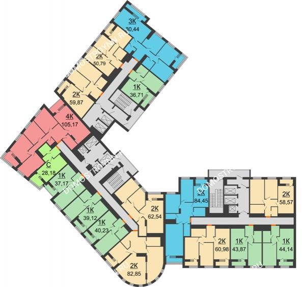 Планировка 18 этажа в доме № 1 в ЖК Дом на Набережной
