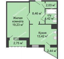 1 комнатная квартира 49,67 м² - ЖК Сергиевская Слобода