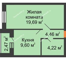 1 комнатная квартира 37,97 м², ЖК Парк Металлургов - планировка