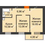 2 комнатная квартира 52,57 м², ЖК Новая Жизнь - планировка