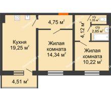 2 комнатная квартира 59,14 м², ЖК Инстеп.Победа - планировка