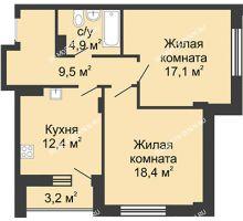 2 комнатная квартира 64,4 м² в ЖК Цветы, дом № 15 - планировка