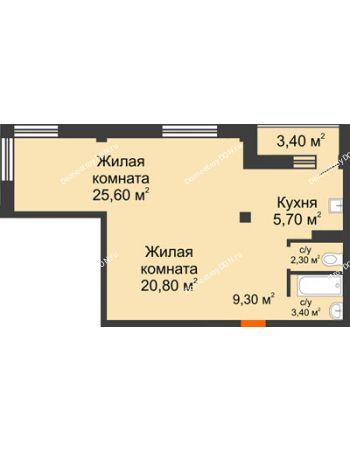 2 комнатная квартира 68,8 м² - ЖК Южная Башня