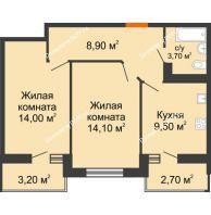 2 комнатная квартира 53,1 м² в ЖК Вересаево, дом Литер 14 - планировка
