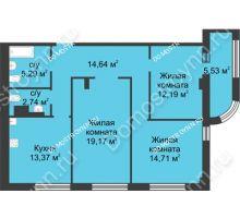 3 комнатная квартира 84,87 м² в ЖК Караваиха, дом № 5 - планировка