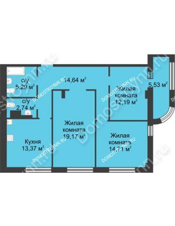 3 комнатная квартира 84,87 м² в ЖК Караваиха, дом № 5