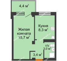 1 комнатная квартира 31,7 м² в ЖК Серебряный, дом Квартал 1, дом №3 - планировка