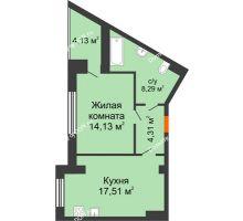 1 комнатная квартира 46,31 м², ЖК Монте-Карло - планировка