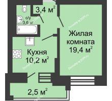 1 комнатная квартира 38,3 м² в ЖК Династия, дом Литер 1 - планировка