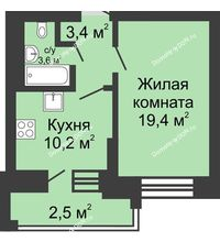 1 комнатная квартира 39,1 м² в ЖК Династия, дом Литер 1 - планировка
