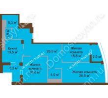 3 комнатная квартира 118,9 м² в ЖК Монолит, дом № 89, корп. 1, 2 - планировка