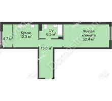 1 комнатная квартира 59 м² в ЖК Славянский квартал, дом № 5а, 7