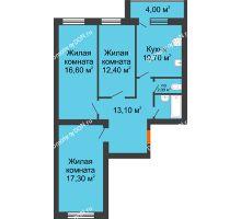 3 комнатная квартира 79,4 м² в ЖК Сиреневый квартал, дом Секция 3 - планировка