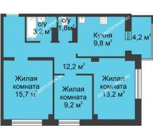 3 комнатная квартира 67,4 м² в ЖК Аквамарин, дом №2 - планировка