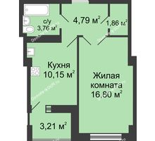 1 комнатная квартира 40,57 м² в ЖК Университетский 137, дом Секция С2 - планировка
