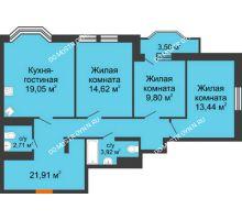 3 комнатная квартира 87,2 м², ЖК Каскад на Менделеева - планировка