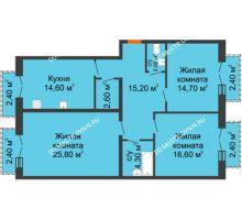 3 комнатная квартира 100,6 м², Жилой дом: г. Дзержинск, ул. Кирова, д.12 - планировка