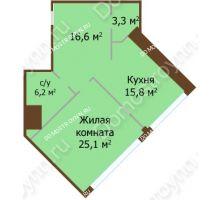 1 комнатная квартира 71,8 м², ЖК Бояр Палас - планировка