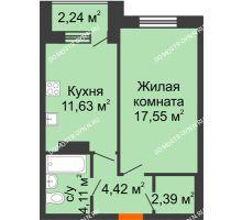 1 комнатная квартира 41,22 м² - Дом на Чаадаева