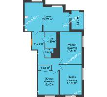3 комнатная квартира 99,34 м² в ЖК Россия. Пять Столиц, дом 3 Этап - планировка