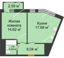 1 комнатная квартира 44,37 м² в ЖК Книги, дом № 2 - планировка