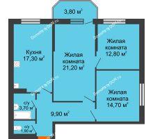 3 комнатная квартира 85,3 м² в ЖК Три Сквера (3 Сквера), дом № 31 - планировка