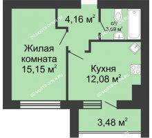1 комнатная квартира 36,82 м² в ЖК Парк Горького, дом 62/2, №4