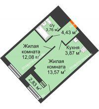 1 комнатная квартира 39,13 м² в ЖК Дом на Набережной, дом № 1 - планировка