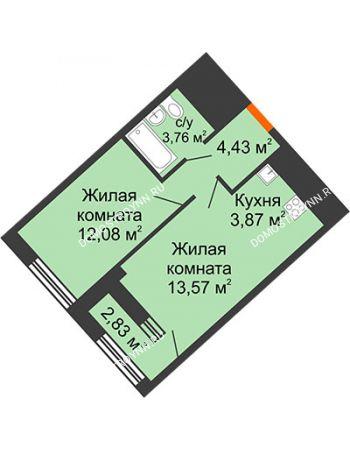 1 комнатная квартира 39,13 м² в ЖК Дом на Набережной, дом № 1