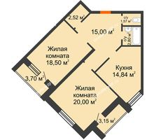 2 комнатная квартира 75,23 м² в ЖК На Гнаровской, дом № 12 корпус 9 - планировка