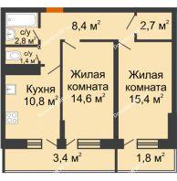 2 комнатная квартира 61,3 м² в Фруктовый квартал Абрикосово, дом Литер 3 - планировка