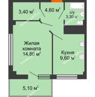 1 комнатная квартира 37,2 м² в ЖК Грин Парк, дом Литер 2 - планировка