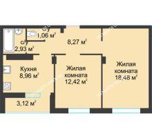 2 комнатная квартира 55,24 м² в ЖК На Вятской, дом № 3 (по генплану)