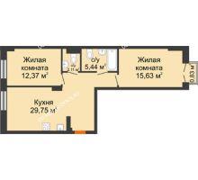 2 комнатная квартира 65,55 м², ЖК Шаляпин - планировка