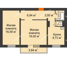 2 комнатная квартира 58,22 м² в Микрорайон Нанжуль-Солнечный, дом № 9 - планировка