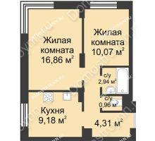 2 комнатная квартира 47,02 м² - ЖК Университетский