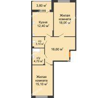 2 комнатная квартира 71,8 м² в ЖК Цветы, дом № 6-2 - планировка